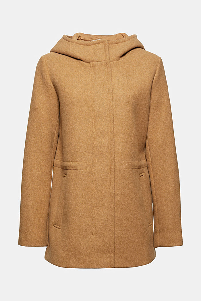 À teneur en laine recyclée : veste à capuche