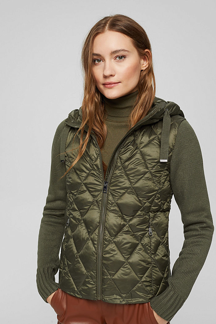 Recycled: quilted jacket with knitted sleeves, DARK KHAKI, detail image number 0
