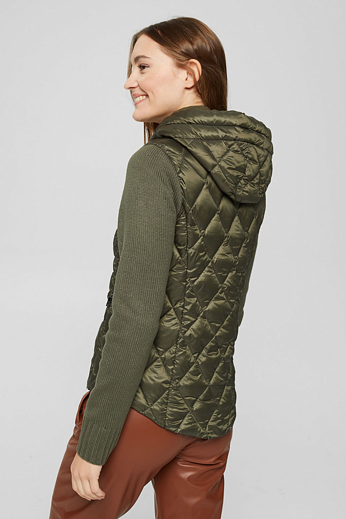 Recycled: quilted jacket with knitted sleeves, DARK KHAKI, detail image number 3
