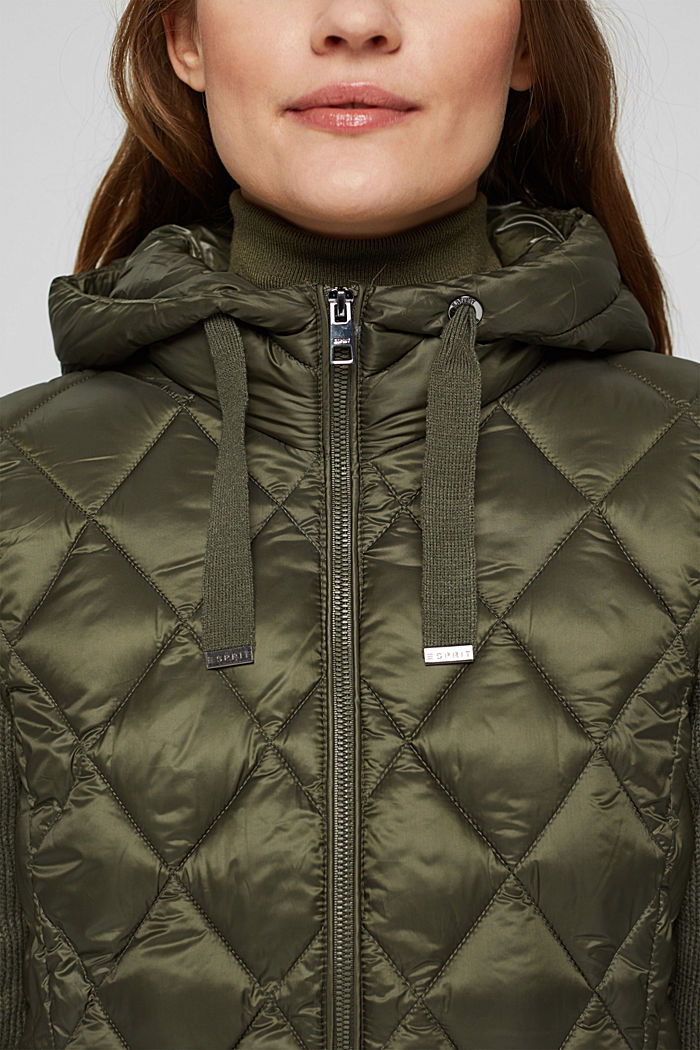 Recycled: quilted jacket with knitted sleeves, DARK KHAKI, detail image number 2