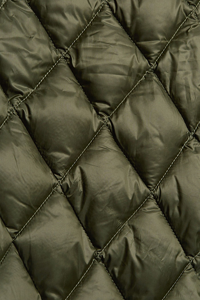 Recycled: quilted jacket with knitted sleeves, DARK KHAKI, detail image number 4