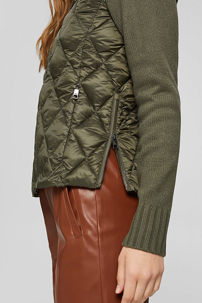 Recycled: quilted jacket with knitted sleeves, DARK KHAKI, detail image number 5