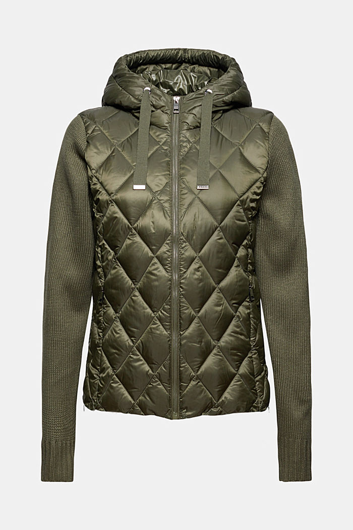 Recycled: quilted jacket with knitted sleeves, DARK KHAKI, detail image number 6