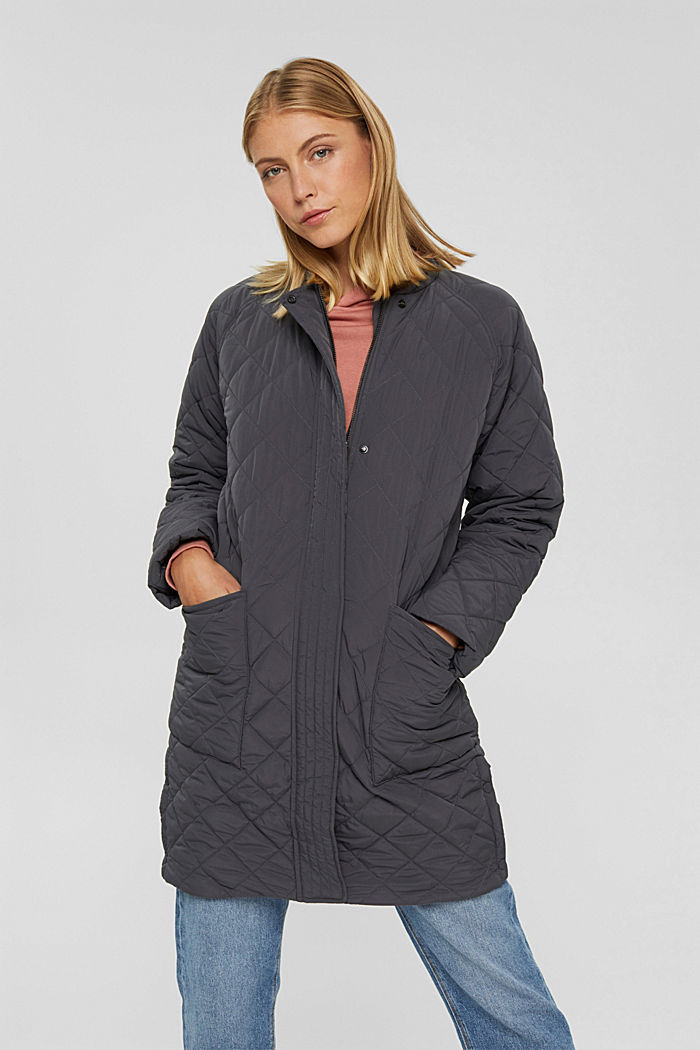 Recycled: diamond pattern quilted coat, ANTHRACITE, detail image number 0
