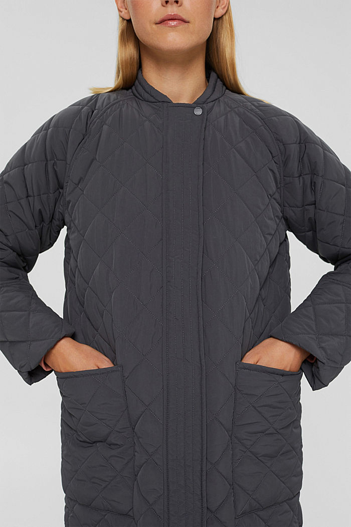 Recycled: diamond pattern quilted coat, ANTHRACITE, detail image number 2