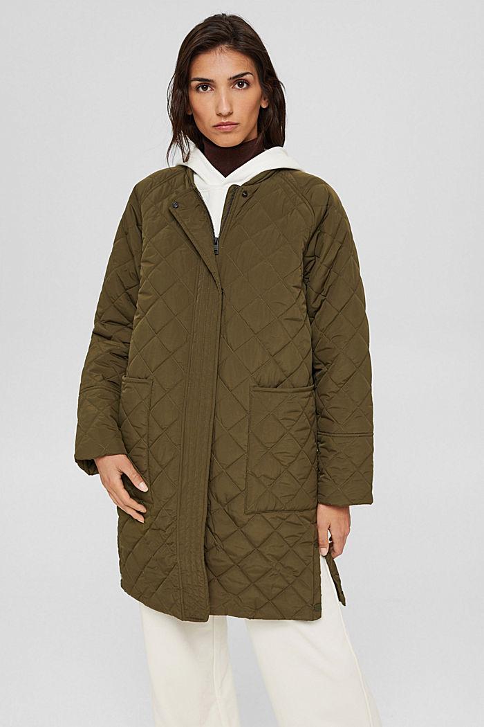 Gerecycled: mantel met ruitvormige stiksels, DARK KHAKI, detail image number 0