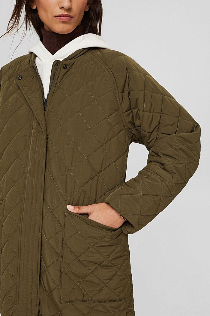 Gerecycled: mantel met ruitvormige stiksels, DARK KHAKI, detail image number 2