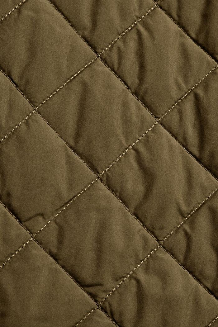 Gerecycled: mantel met ruitvormige stiksels, DARK KHAKI, detail image number 4
