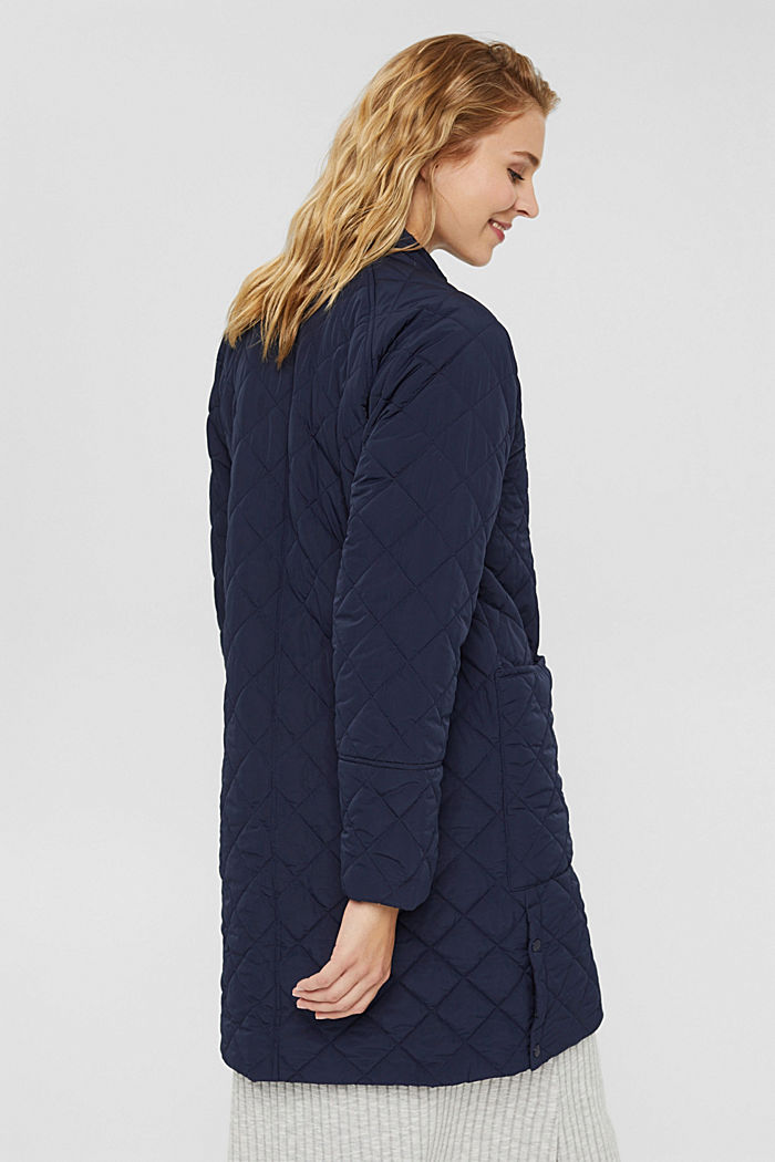 Recycled: diamond pattern quilted coat, NAVY, detail image number 3