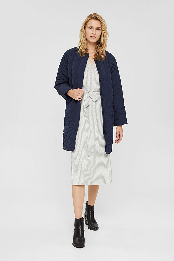 Recycled: diamond pattern quilted coat, NAVY, detail image number 1