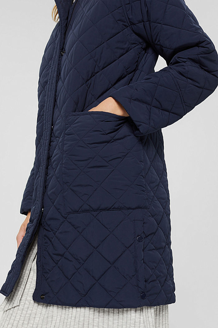 Recycled: diamond pattern quilted coat, NAVY, detail image number 2