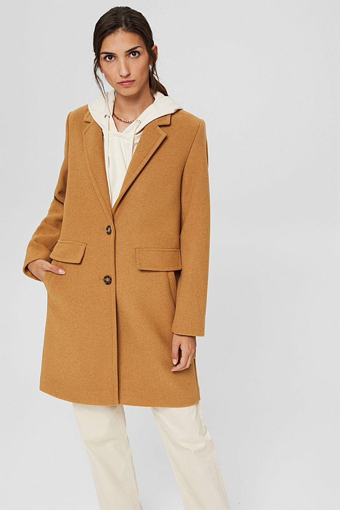 Recycled: blended wool coat with a lapel collar