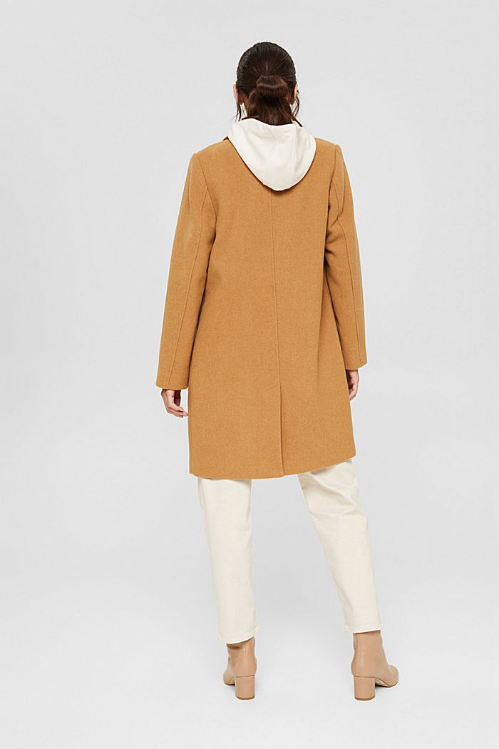 Recycled: blended wool coat with a lapel collar, CAMEL, detail image number 3