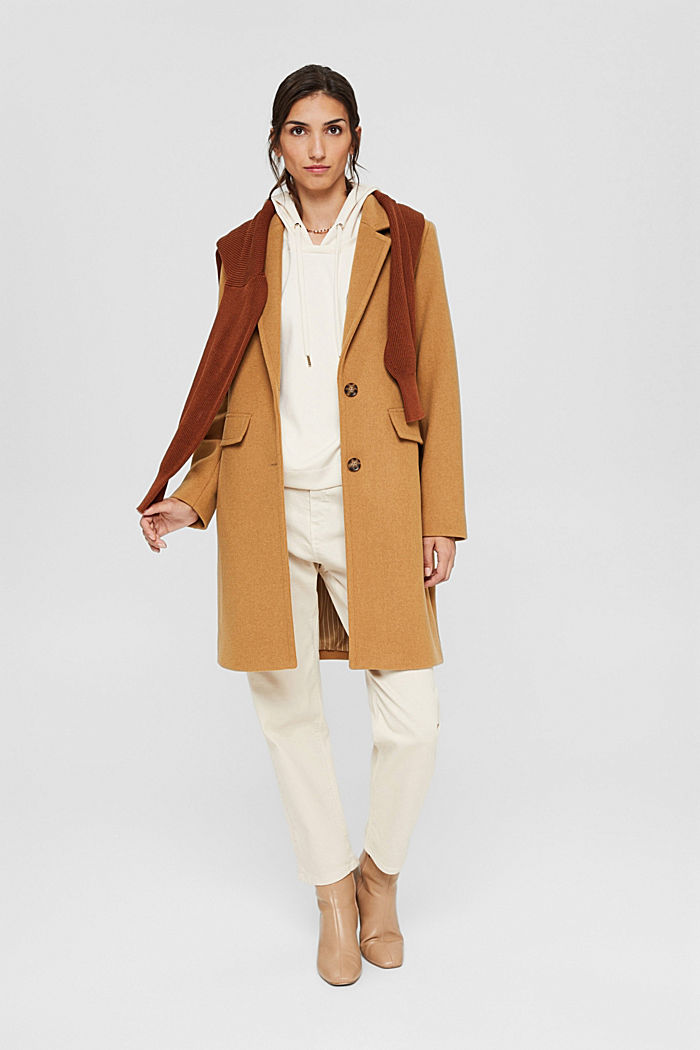 Recycled: blended wool coat with a lapel collar, CAMEL, detail image number 1
