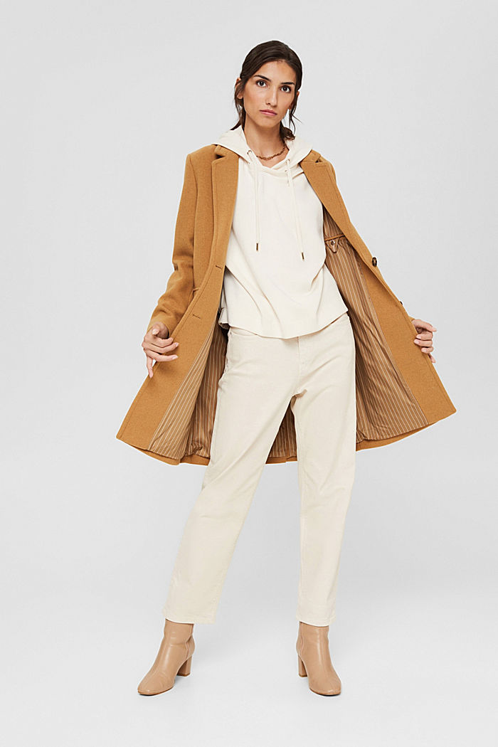 Recycled: blended wool coat with a lapel collar, CAMEL, detail image number 5