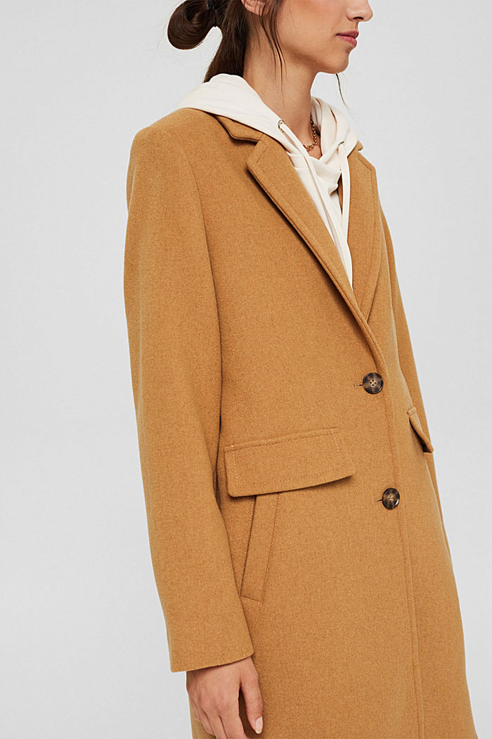 Recycled: blended wool coat with a lapel collar, CAMEL, detail image number 2