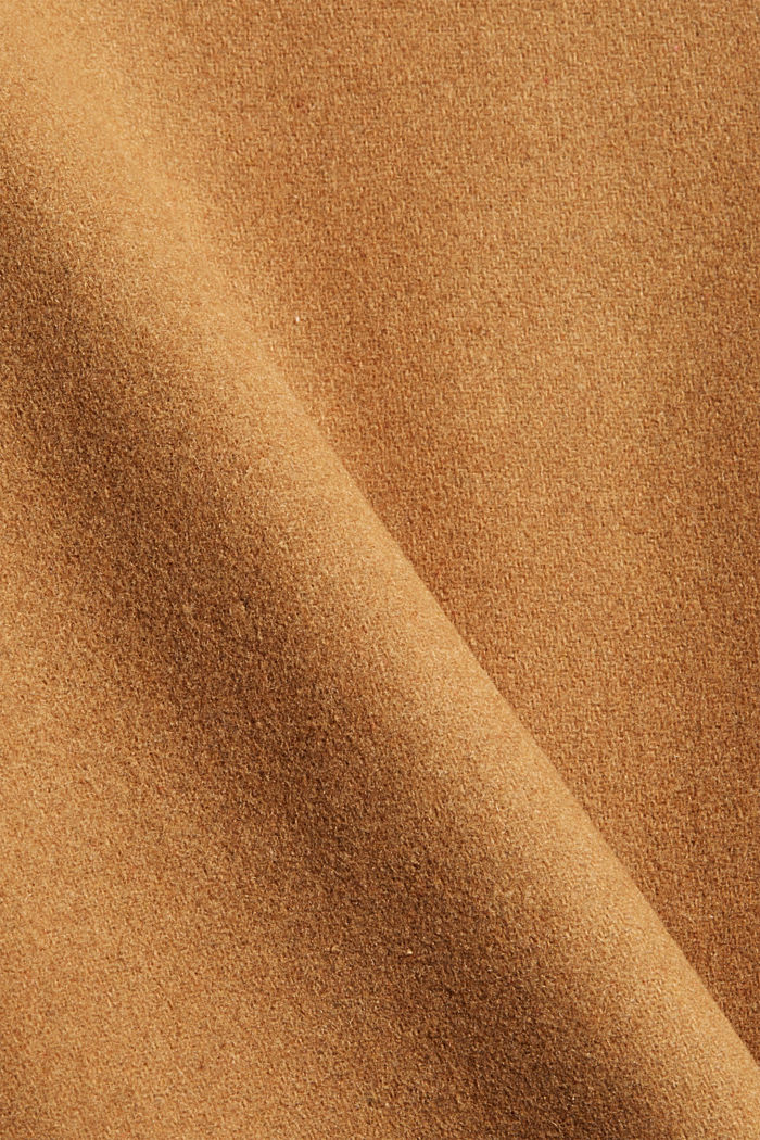 Recycled: blended wool coat with a lapel collar, CAMEL, detail image number 4