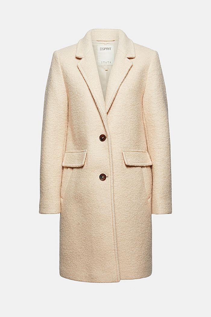 Reciclado: abrigo tipo blazer en mezcla de lana realizado con hilo rizado