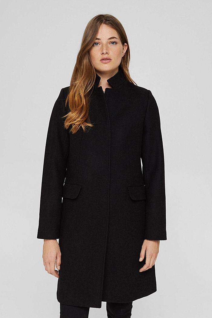 Recycled: wool blend blazer coat, BLACK, detail image number 0