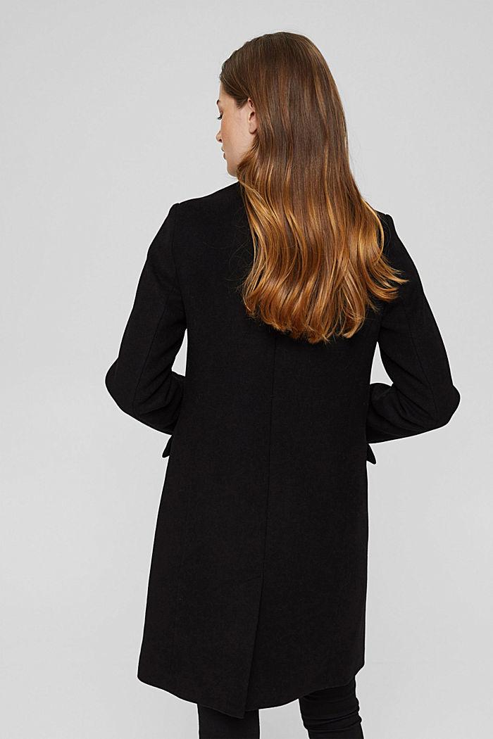 Recycled: wool blend blazer coat, BLACK, detail image number 3