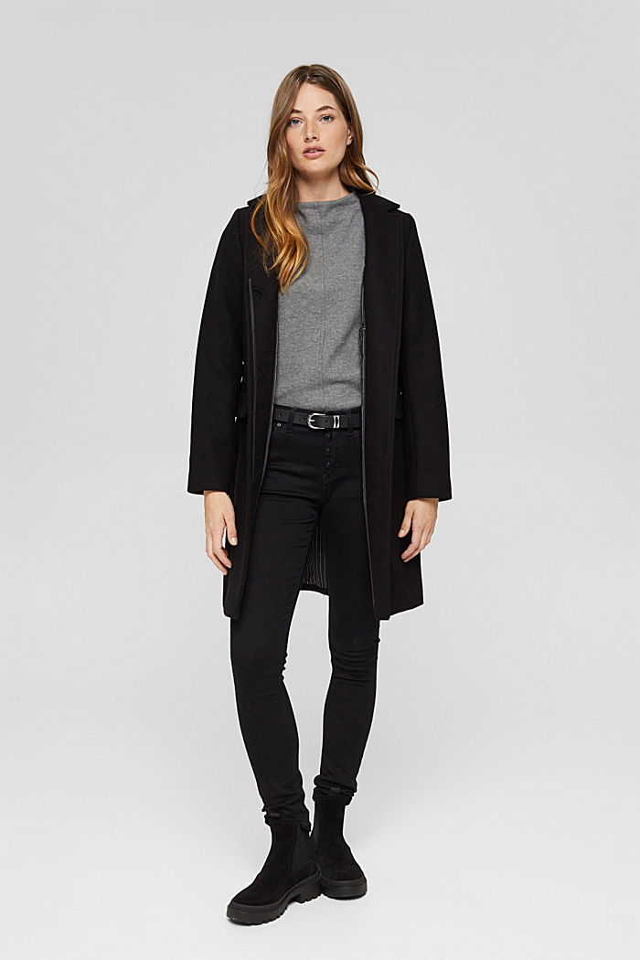 Recycled: wool blend blazer coat, BLACK, detail image number 1