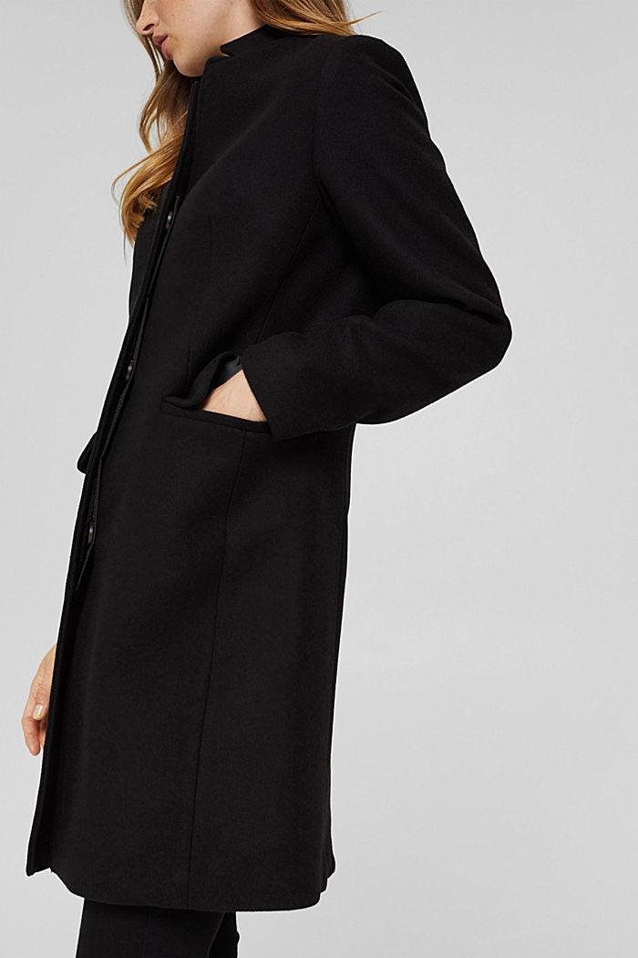 Recycled: wool blend blazer coat, BLACK, detail image number 2