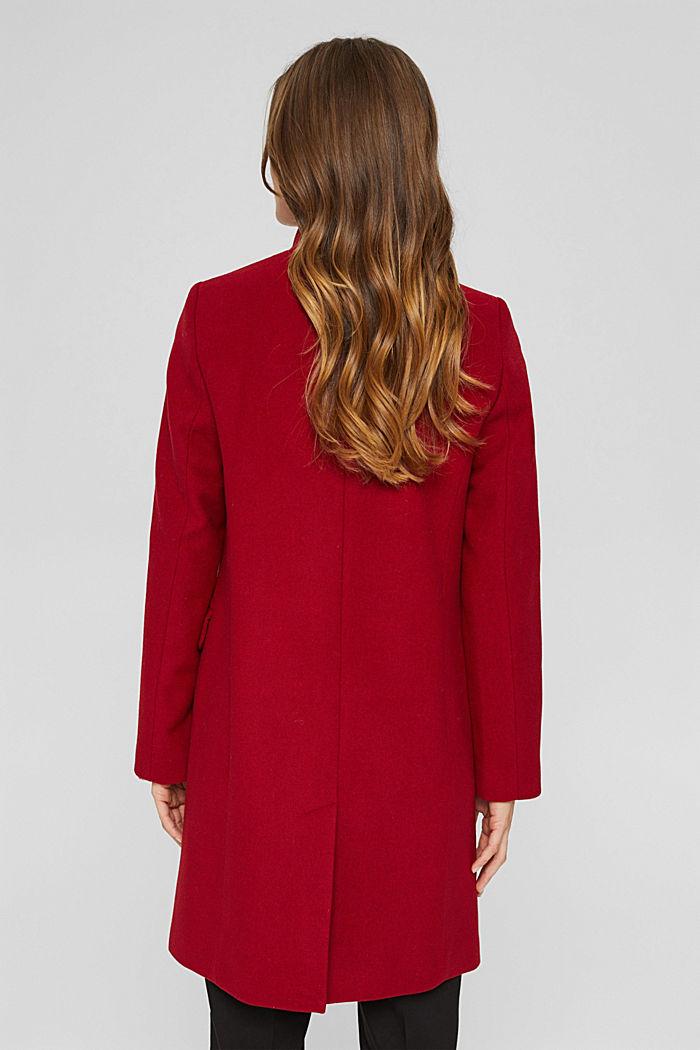 Aus recyceltem Woll-Mix: Mantel mit Stehkragen, DARK RED, detail image number 3