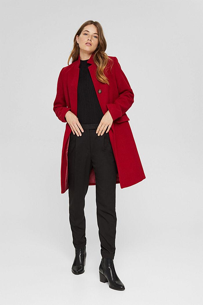 Aus recyceltem Woll-Mix: Mantel mit Stehkragen, DARK RED, detail image number 1