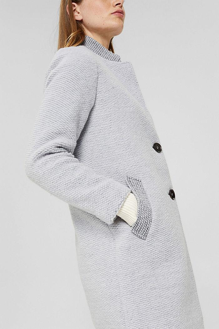 Mit Wolle: strukturierter Blazermantel, LIGHT GREY, detail image number 2