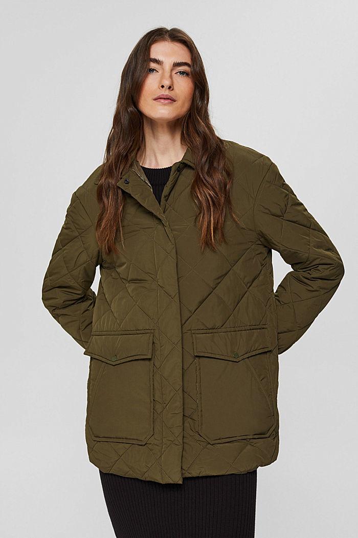 100% en matière recyclé: la veste matelassée à grandes poches, DARK KHAKI, detail image number 0