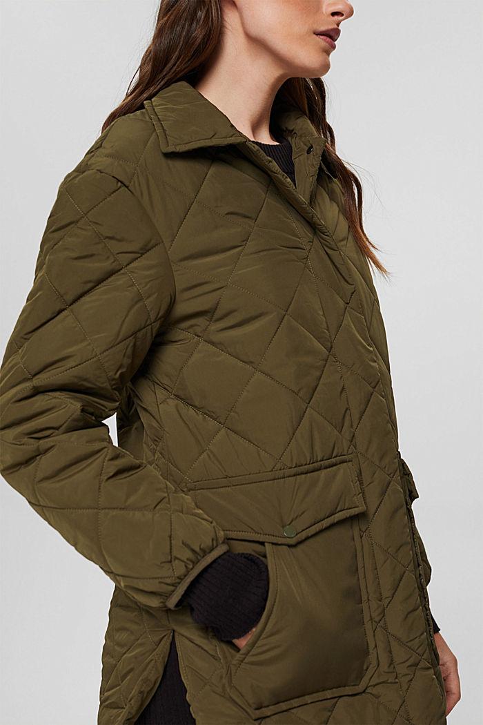 100% en matière recyclé: la veste matelassée à grandes poches, DARK KHAKI, detail image number 2