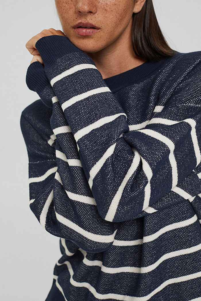 Batwing jumper made of 100% organic cotton, NAVY, detail image number 2