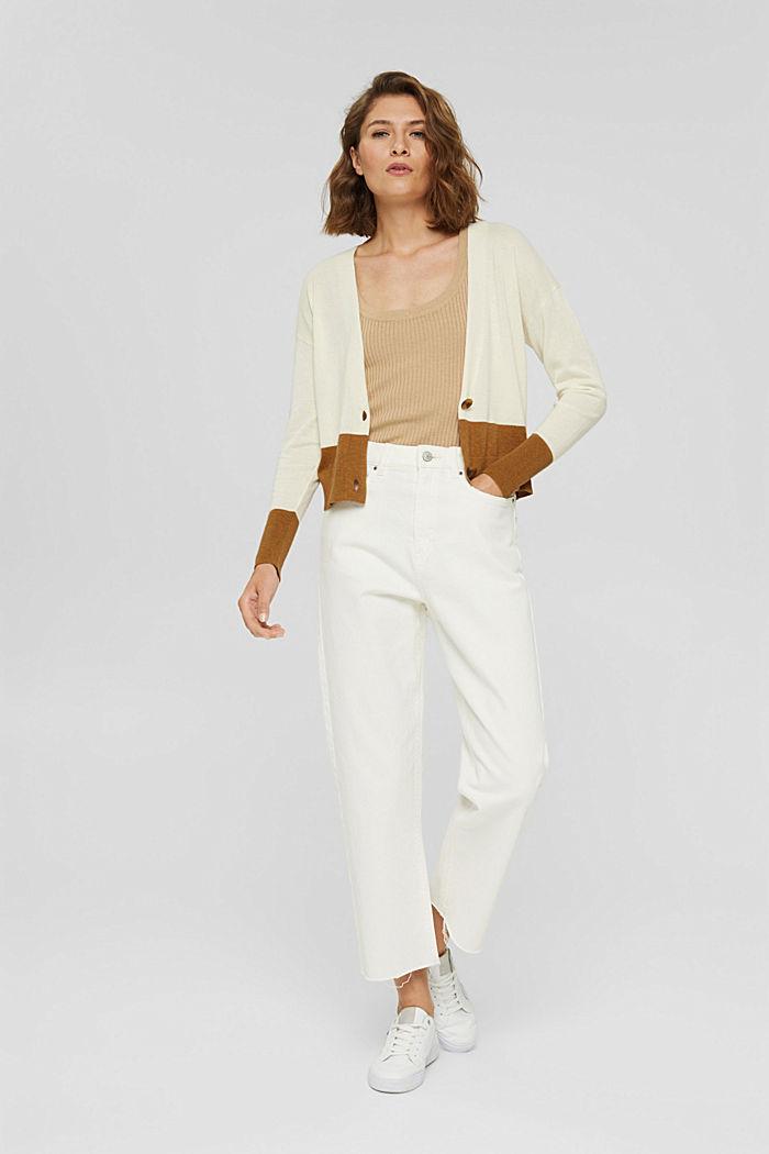 Cardigan aus 100% Pima-Baumwolle, OFF WHITE, detail image number 1
