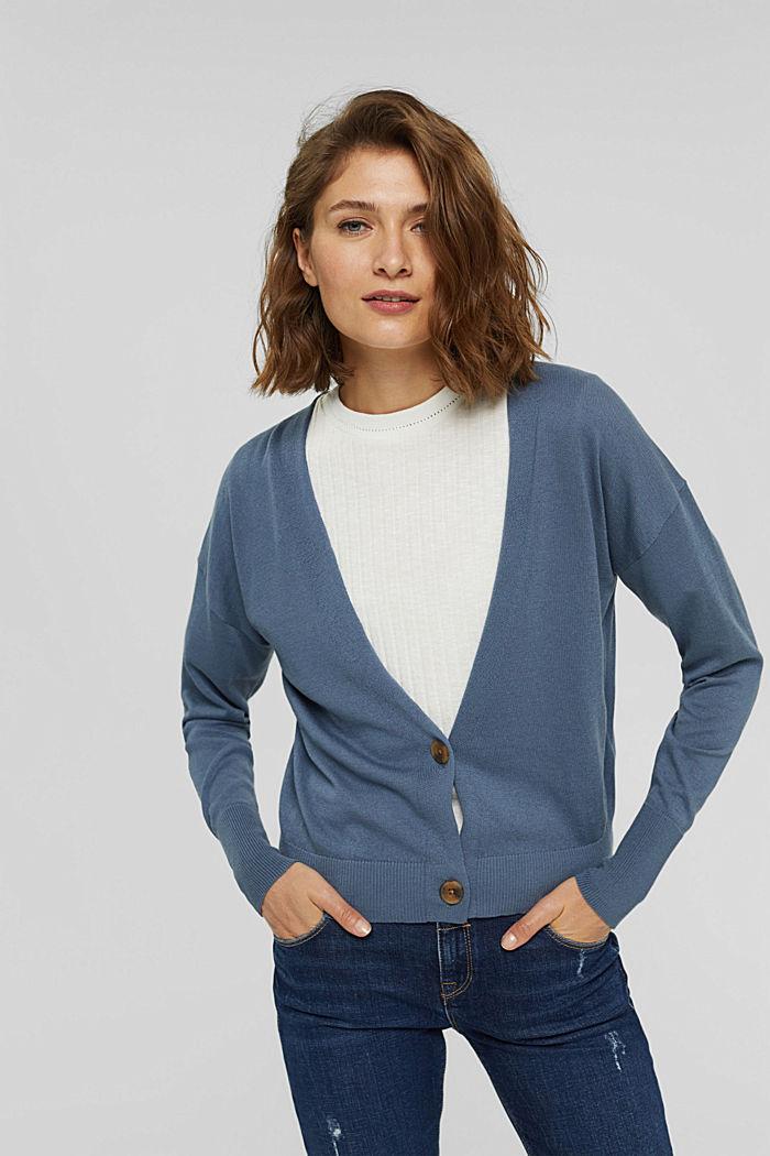 Cardigan aus 100% Pima-Baumwolle, GREY BLUE, detail image number 0