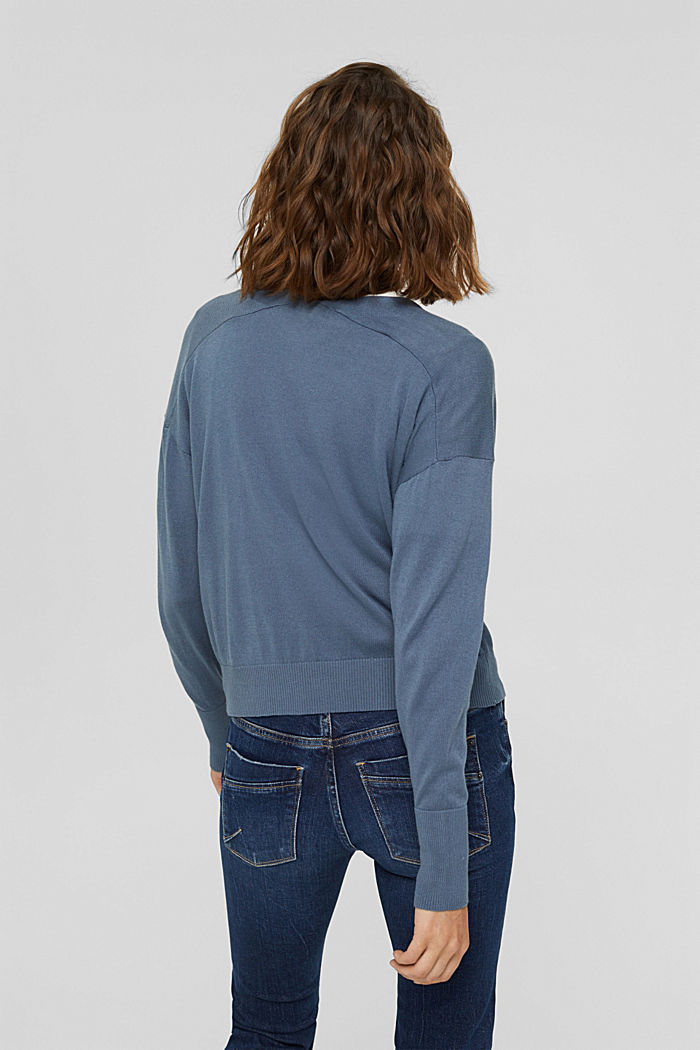 Cardigan aus 100% Pima-Baumwolle, GREY BLUE, detail image number 3
