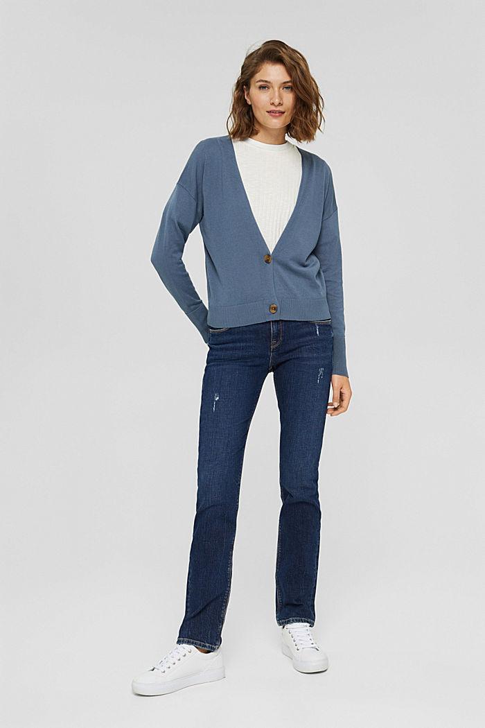 Cardigan aus 100% Pima-Baumwolle, GREY BLUE, detail image number 1