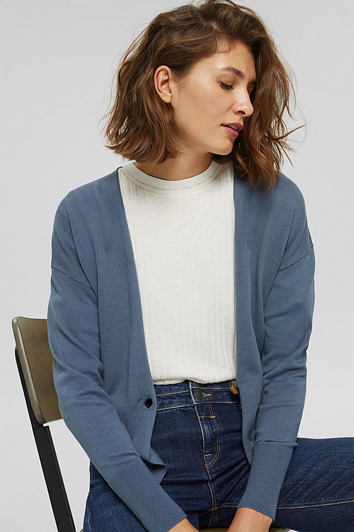 Cardigan aus 100% Pima-Baumwolle, GREY BLUE, detail image number 5