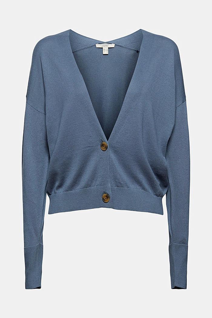 Cardigan aus 100% Pima-Baumwolle, GREY BLUE, detail image number 6