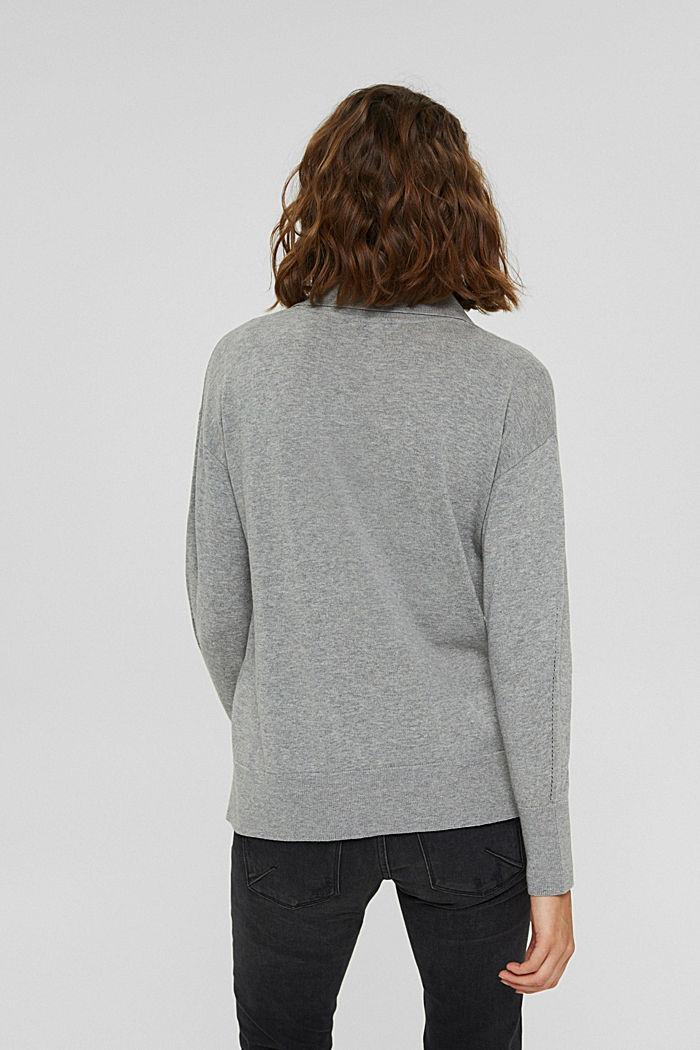 Polo-Pullover aus 100% Pima-Baumwolle, MEDIUM GREY, detail image number 3