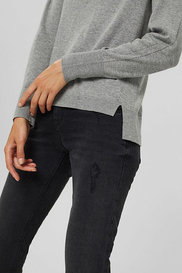 Polo-Pullover aus 100% Pima-Baumwolle, MEDIUM GREY, detail image number 2