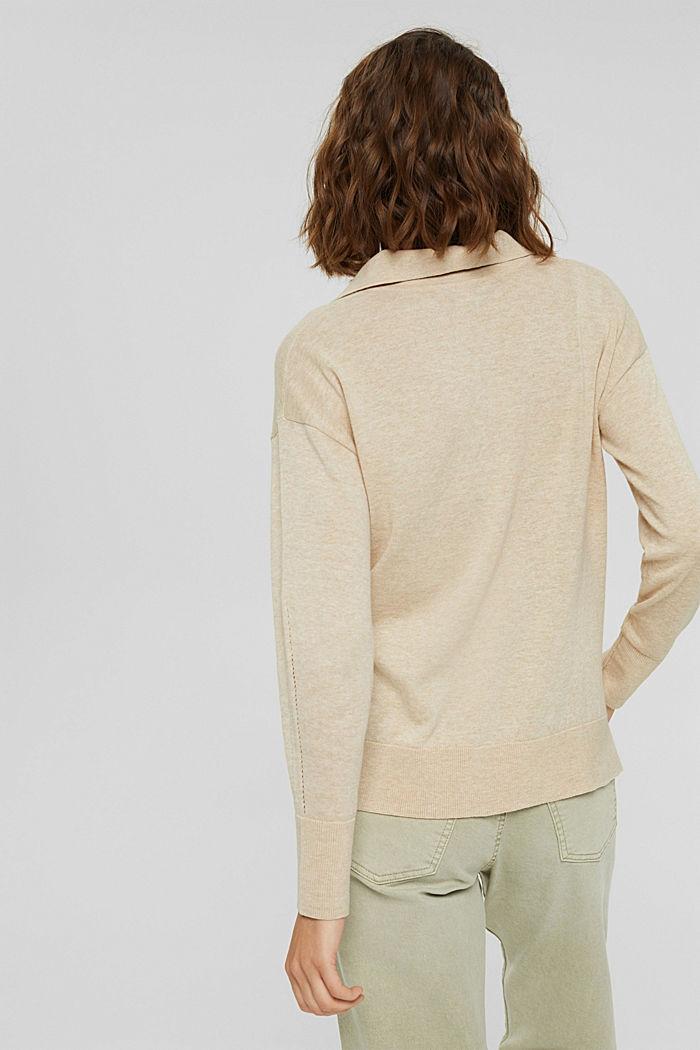 Jersey estilo polo en 100 % algodón Pima, SAND, detail image number 3
