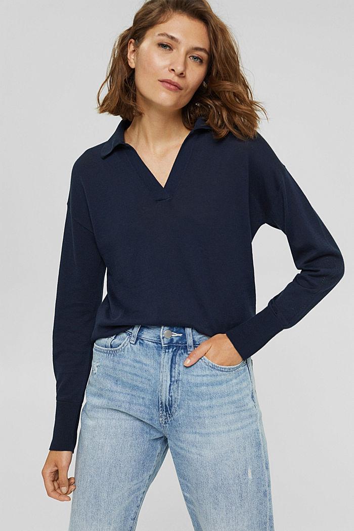 Jersey estilo polo en 100 % algodón Pima, NAVY, detail image number 0