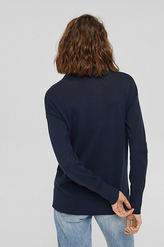 Jersey estilo polo en 100 % algodón Pima, NAVY, detail image number 3
