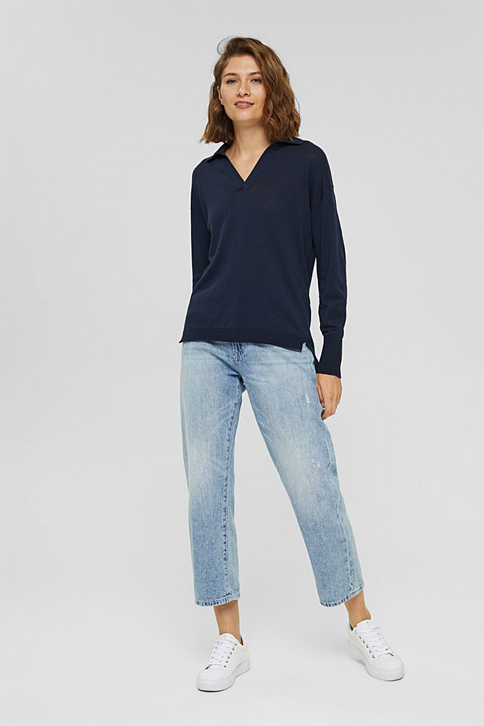 Jersey estilo polo en 100 % algodón Pima, NAVY, detail image number 1