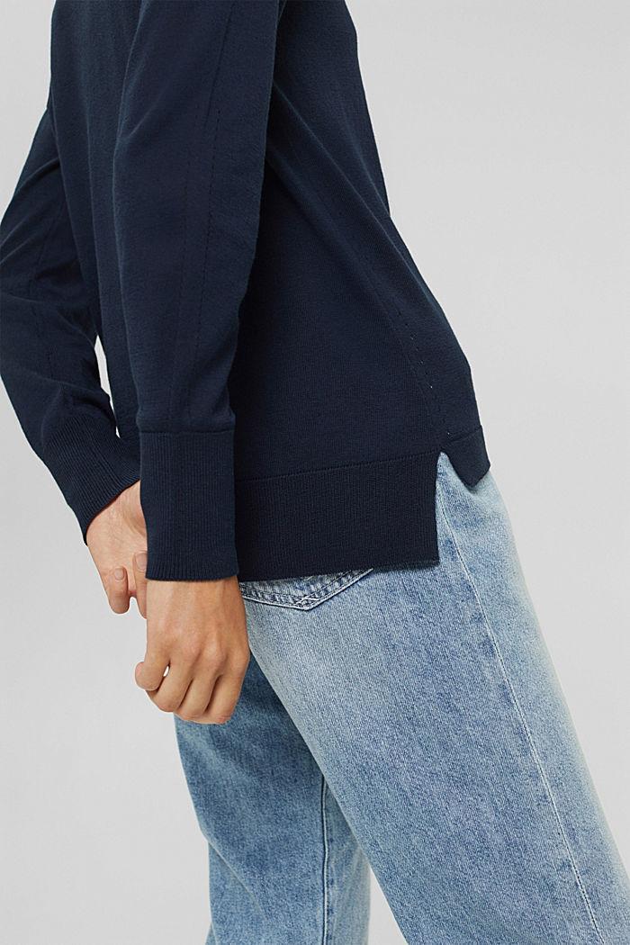 Jersey estilo polo en 100 % algodón Pima, NAVY, detail image number 2