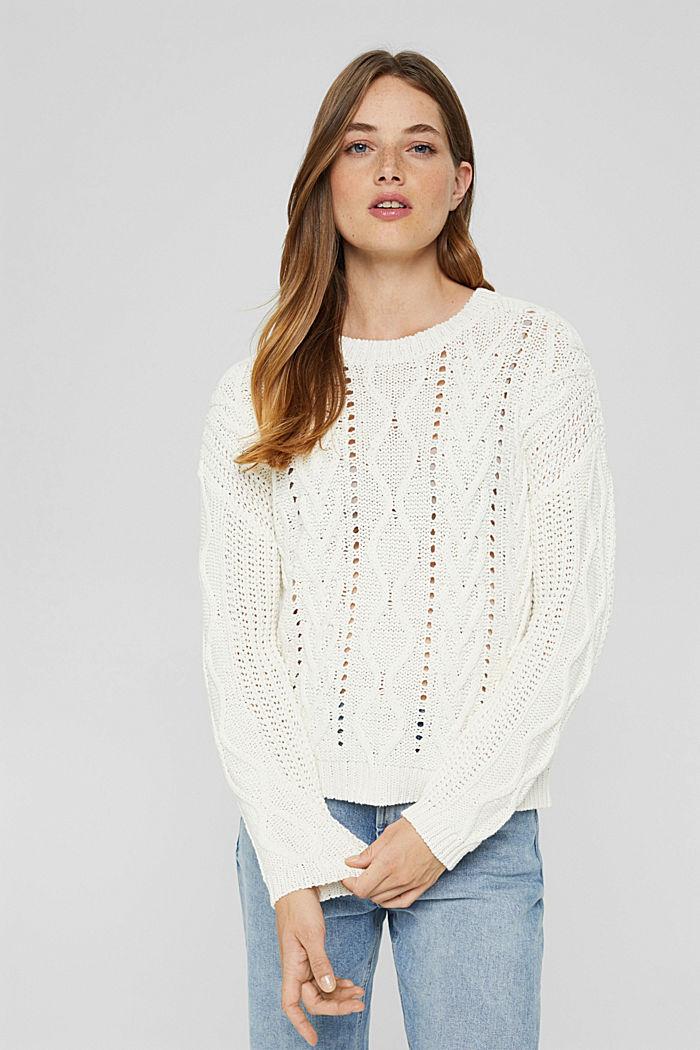 Zopfstrick-Pullover aus 100% Bio-Baumwolle, OFF WHITE, detail image number 0