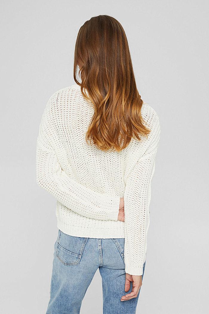 Zopfstrick-Pullover aus 100% Bio-Baumwolle, OFF WHITE, detail image number 3