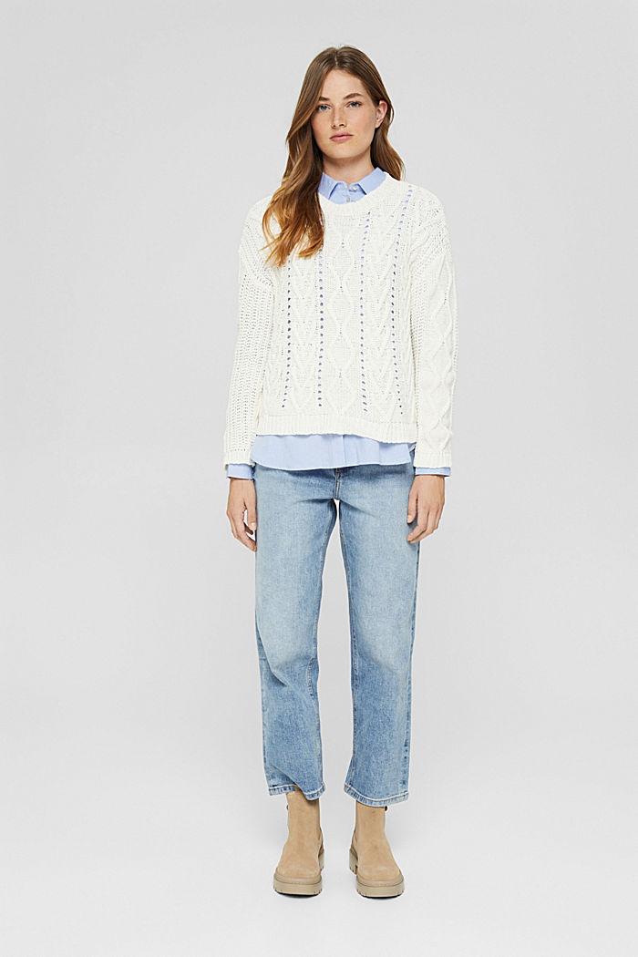 Zopfstrick-Pullover aus 100% Bio-Baumwolle, OFF WHITE, detail image number 1