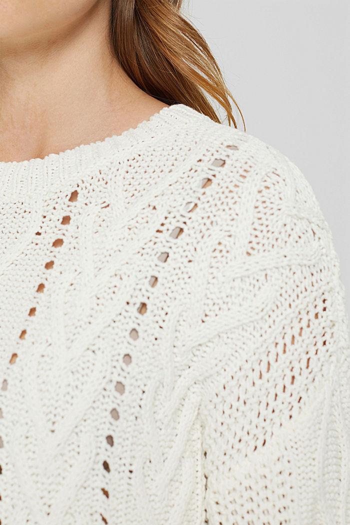 Zopfstrick-Pullover aus 100% Bio-Baumwolle, OFF WHITE, detail image number 2