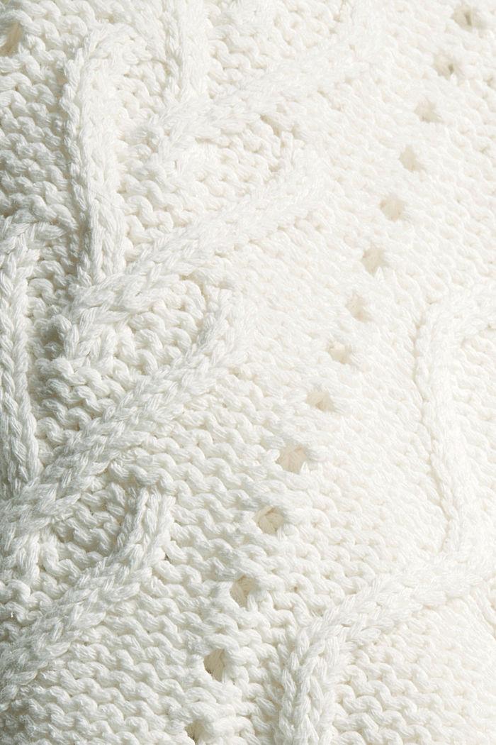 Zopfstrick-Pullover aus 100% Bio-Baumwolle, OFF WHITE, detail image number 4